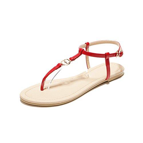Sandales En Cuir Flat Bottom Clip/Sandales D'étudiants Européens Et Américains De Plage B