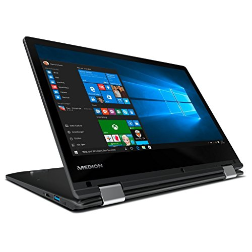 Medion Akoya E2221T MD 60623 29,4cm (11,6 Zoll HD Display) Convertible Touch-Notebook (Intel Atom x5-Z8350, 4GB RAM, 64GB Flash-Speicher, Intel HD-Grafik, Win 10 Home) schwarz