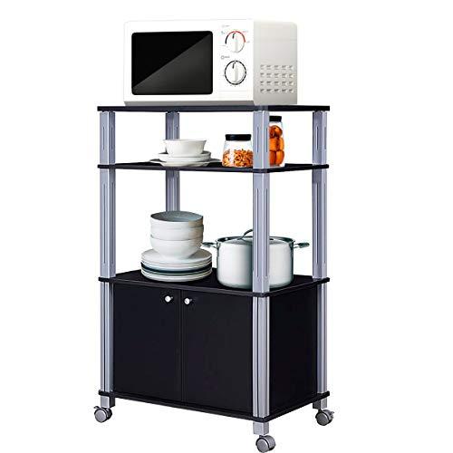 COSTWAY Küchenregal für Mikrowelle, Mikrowellenregal auf Rollen, Standregal Küche, Küchenwagen Beistellwagen Haushaltsregal (schwarz)