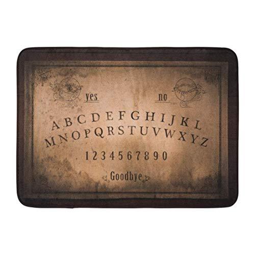 LIS HOME Fußmatten Badteppiche Outdoor/Indoor Fußmatte Ouija Talking Board und Planchette auf Seances für die Kommunikation der Toten High Contrast Occult Bathroom Decor Teppich Badematte High Contrast Matte