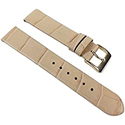 Rainbow Replacement Band Watch Band Leather Kalf Strap Beige 390_21G, Abutting:12 mm