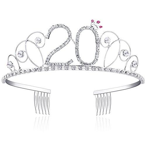 BABEYOND® Kristall Geburtstag Tiara Birthday Crown Prinzessin Kronen Haar-Zusätze Silber Diamante Glücklicher 18/20/21/30/40/50/60 Geburtstag (20 Jahre alt) (Geburtstag Tiara 30.)