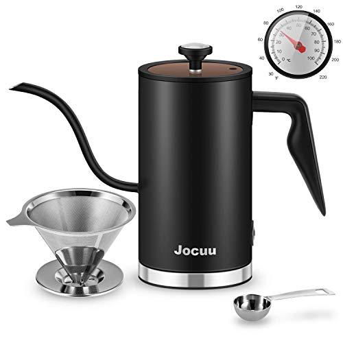 Jocuu Gooseneck elektrischer Wasserkocher Kaffeekessel 500 ml Edelstahl 304 mit Thermometer und Statusanzeige zum Zubereiten von Tee, Übergießen von Kaffee und kochendem Wasser
