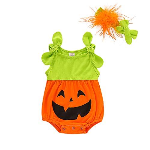 Bodysuits + Stirnband Kürbis bedruckter Strampler für Kleinkinder, ärmellos, Cartoon-Druck, für Halloween-Party, Jungen Mädchen Jumpsuits für Babys Geburtstag, Größe 70-100 Gr. 100 cm, Orange (Oktober 2019 Halloween-31.)
