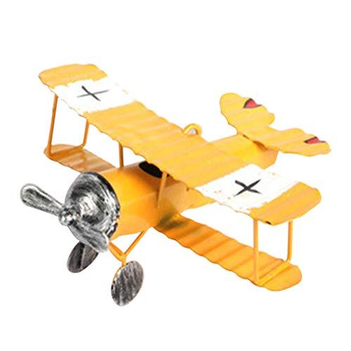 LIOOBO Miniatur Flugzeug-Modelle Vintage Flugzeug Metall Modell Deko Oster Geschenk Kinder Spielzeug Büro Zuhause Ornament (Gelb) (Flugzeuge Spielzeug Vintage)