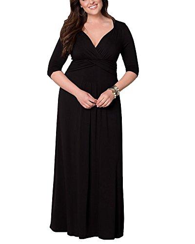 Donna Manica Lunga Profondo Scollo A V Vestito Elegante Cerimonia Cocktail Partito Abiti Nero