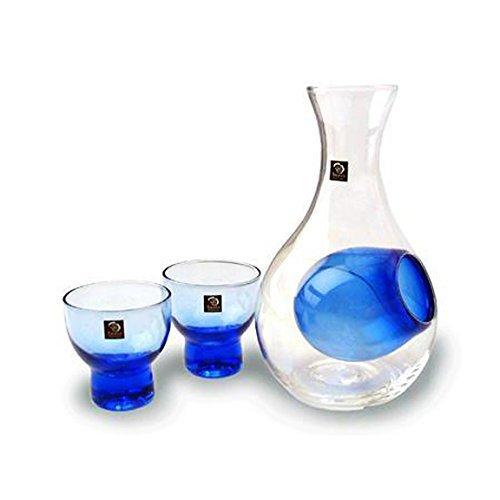 Happy Sales HSSS-GLB12, Blue Glass Sake Set for Cold Sake by Happy Sales -