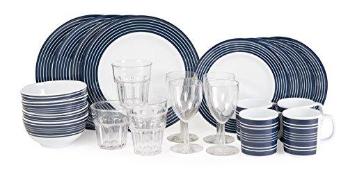 Melamin Set Camping-Geschirr Navi- Pinstripe Blau-Weiß 26 teile Inkl.4x Wasser +4x Weinglas