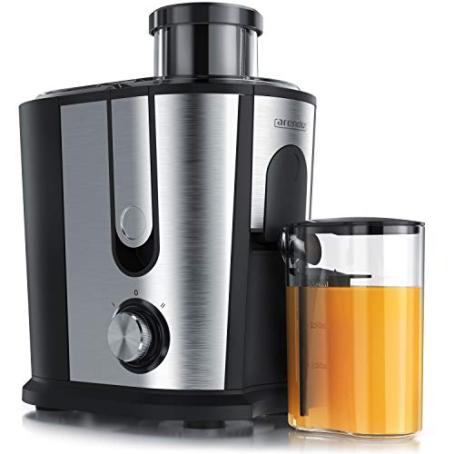 Arendo - Entsafter für Obst und Gemüse in Edelstahl - Zentrifugaler Entsafter Juicer - elektrisch - 2 Geschwindigkeitsstufen - Überhitzungsschutz - Edelstahlgehäuse - BPA frei
