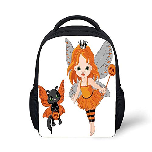Kids School Backpack Halloween,Halloween Baby Fairy and Her Cat in Costumes Butterflies Girls Kids Room Decor Decorative,Multicolor Plain Bookbag Travel Daypack (Girl Swat Halloween)