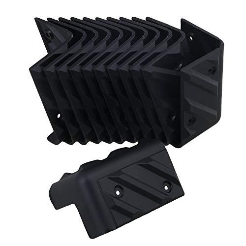 12 Stück Kunststoff schwarz gerade Winkel Schutz für Kabinettverstärker Gitarre Kopfhörer Lautsprecher - 48 x 48 x 80 mm