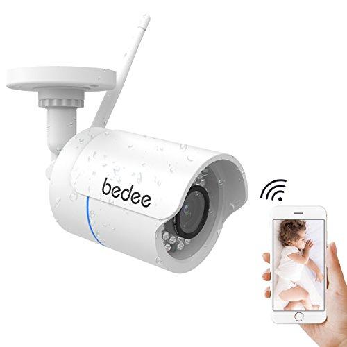 bedee Wlan IP Kamera 1080P HD Überwachungskamera Sony 2 Mega Pixel Sicherheitskamera Unterstützt Handy/PC Fernbedienung, IR Nachtsicht, Bewegungserkennung, Email, FTP/128G SD Karte Aufnahme mit 3M/9,8ft Stecker, Deutsche Installationsanleitung für Innen/Außen Wasserdicht Weiß IP Cam