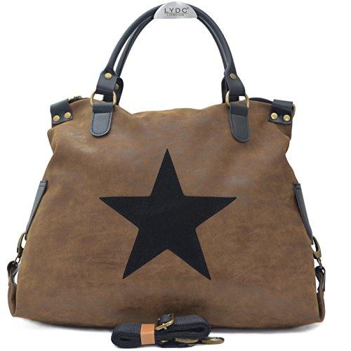 Vain Secrets Sternen Shopper Damen Handtasche mit Schulterriemen (Washed PU Camel) - Star Canvas-tasche