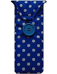 blue polka dot print glasses case