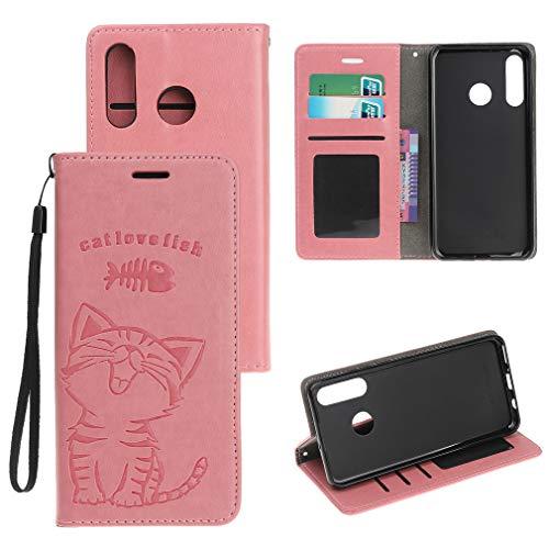 SZHTSWU Hülle für Huawei P30 Lite (6,0 Zoll), Katze und Fisch Muster Magnetic Adsorption PU Leder Tasche Brieftasche Flip Wallet Case Schutzhülle mit Kartenfächern, Rosa Magnetic Wallet Case