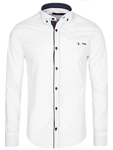 OZONEE Herren Klassisch Hemd Freizeithemd Langarm Shirt Casual Slim Fit RAW LUCCI 784 Weiß