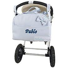 mibebestore - Bolso Polipiel Carrito Bebe Personalizado con nombre bordado CELESTE - Nombre bebé bordado