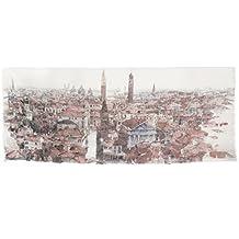 Foulard in cotone impreziosito da stampa fedele dell'acquerello Venezia - Veduta aerea dell'artista Nicola Tenderini. Prodotto artigianale, Made in Italy