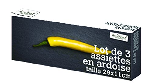 Ard'time LT3RECT2911 Assiette Ardoise Rectangulaire Gris 29 x 11 cm Lot de 3