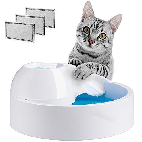 Terra Hiker Trinkbrunnen für Katzen und Hunde, Haustier Wasserbrunnen, Aktivkohlefilter und Leiser Wasserfontäne (Weiß)