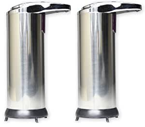 2 X Hausen Automatic Hands Free Chrome Bathroom/Kitchen Liquid Soap Dispenser
