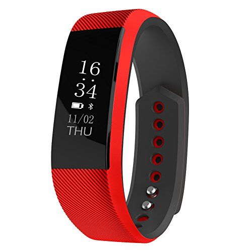 Smart Sport Armband,QIMAOO Activity Tracker Fitness Tracker W808S Sport Schrittzähler Bluetooth Smart Watch für Android IOS iPhone 7/7 Plus/6S/5/5S/SE Huawei LG Sony Smartphone(rot+schwarz)