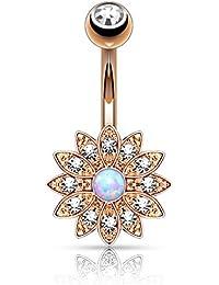 Piercing Ombligo de acero quirúrgico y circonio–chapado en oro rosa–flor pedrería