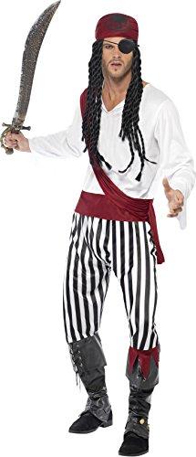 Smiffys Herren Piratenkostüm, Hemd, Hose, Kopfbedeckung und Gürtel, Größe: M, 25783