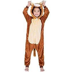 heekpek Cartoon Animal Halloween Pijama Cosplay Animados Animal Disfraz Cosplay Ropa por Niños Animales Pijamas Ropa de Fiesta Cosplay (León, S:Tamaño 85cm -para Altura 90-100cm)