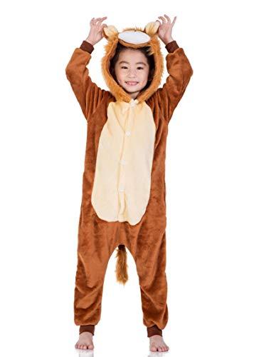 heekpek Kostüm Jumpsuit Tier Fasching Karneval Halloween kostüm Erwachsene Unisex Cosplay Schlafanzug Halloween kostüm Damen mädchen Herren Kinder (Löwe, Kinder Größe 115 - für Höhe 120-130cm)