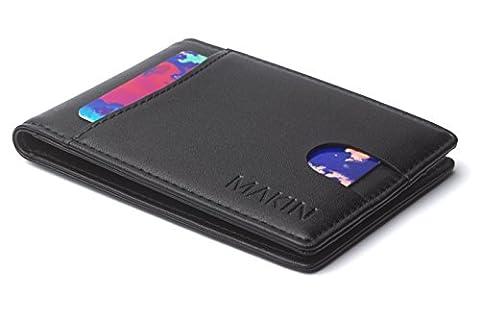 Design Portemonnaie mit Geldklammer und RFID Blocker - Premium Geldbörse mit Geldscheinklammer - Moneyclip & Kreditkartenetui in schwarz - Smart Wallet