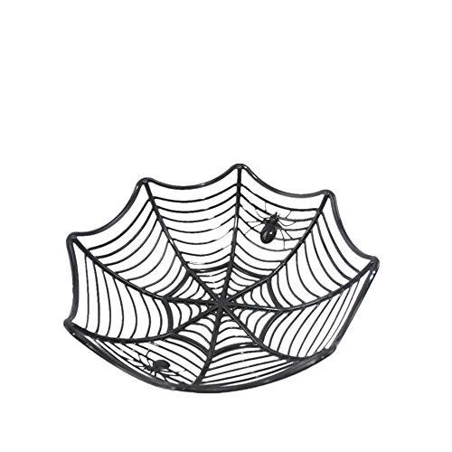 Yisily Halloween Süßigkeit-Kasten kreative Spinnennetz Kunststoff Süßigkeiten Korb dekorativer Tisch Süßigkeiten Obst-Speicher-Halter für Halloween-Dekoration (Schwarz) -