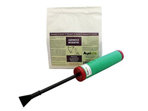 Agrinova Milbenfrei 1 kg + Handstäube-Gerät BAZOKA im Sparset zur Bekämpfung der Roten Vogelmilbe und Anderer Parasiten in der Tierhaltung, in Stallungen und in Räumen.