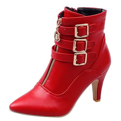 LCLrute Schuhe Damen Stiefel Frühling High Heels Stiefeletten Spitz Schnalle Martin Stiefel Reißverschluss Damen Schuhe Weiß Große Größe ()