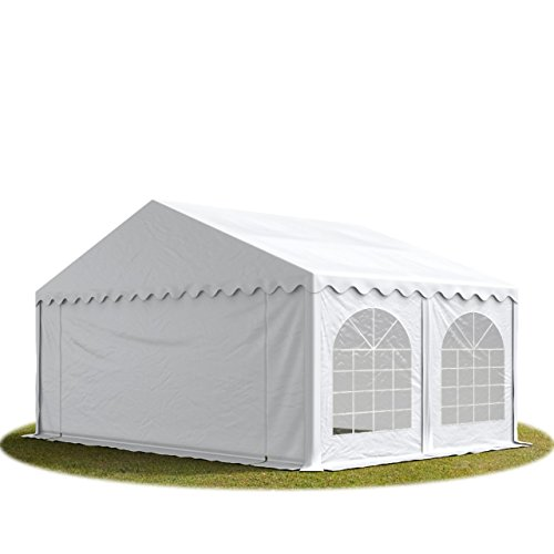 TOOLPORT Tente Barnum de Réception 5x5 m ignifugee Premium Bâches Amovibles PVC 500 g/m² Blanc Cadre de Sol Jardin INTENT24