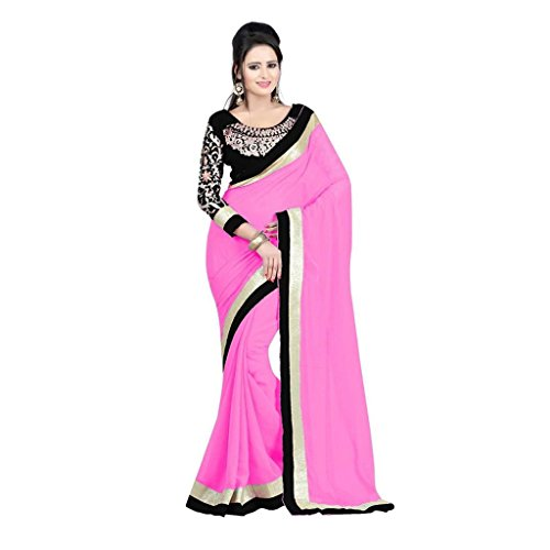 Fashion And Hub Women's Pink Embroidered Saree With Unstitched Blouse Piece