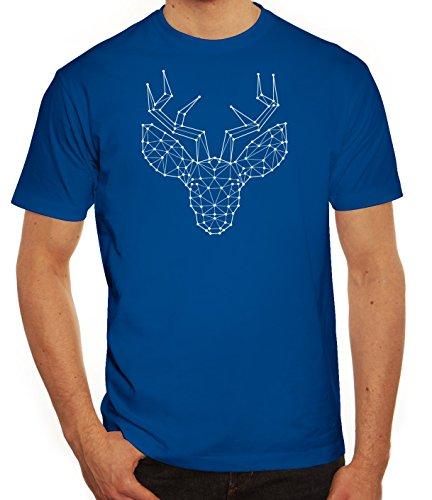 Weihnachten Herren T-Shirt mit Polygon Rentier Motiv von ShirtStreet Royal Blau