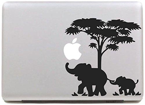 Vati Blätter Removable Kreative Elephant und Baby Elephant Aufkleber Aufkleber Skin Art Schwarz für Apple Macbook Pro Air Mac 13