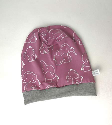 Baby Kinder Beanie Mütze Mädchen Elefanten Altrosa KU 34-54 cm handmade Puschel-Design (Mädchen Baby-designs Für)
