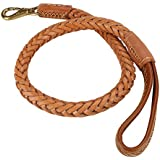 Durable Leather Dog Lead Braided Dog Training Walking Lead With Soft Handle For Dogs Pets