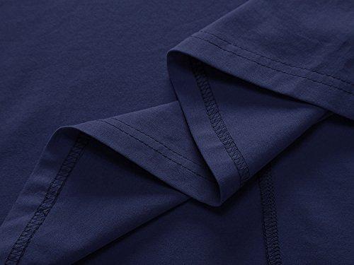 OhSeaya Damen Einfache Beiläufiges Langarm Basic Kleider Falten Stretch Freizeitkleid Knielang Langarm__Navy