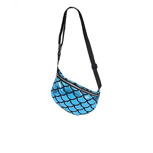 Nibesser Gürteltasche Glitzer Bauchtasche Geldbeutel Hüfttasche mit Reissverschluss für Frauen Mädchen (Silber) Blau