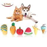 RCRuning-EU 6 Pezzi cane peluche giocattolo, Giocattoli Interattivi da masticare cane con il suono Frutta e verdura Giocattoli per cani piccoli e medi