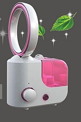 Etbotu Luftbefeuchter Diffusor Luftreiniger 2 in 1 mit Bladeless Fan Mini Turbine Fan Ultraschall Desktop Fan Luftbefeuchter Perfekt für die Home und Business Klimatisierte Zimmer Red