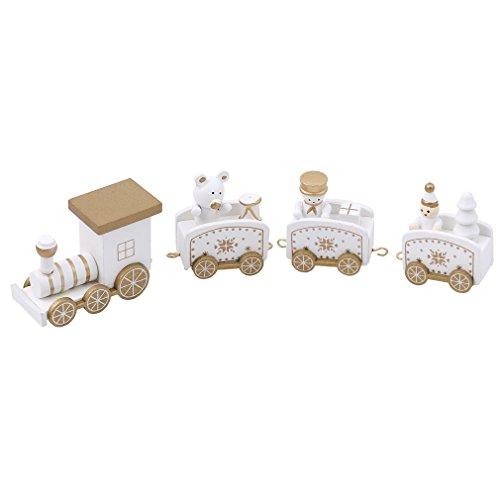 HENGSONG Drôle Petit Train en Bois Enfants Jouets de Noël Creative Cadeaux Décorations de Table de Noël (Blanc)