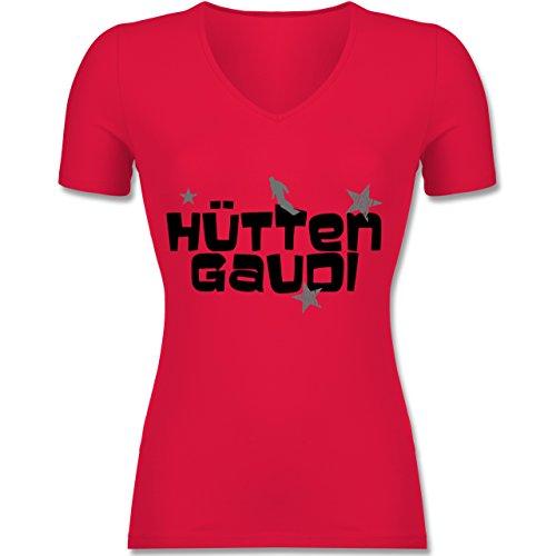 - Hüttengaudi Snowboarder - M - Rot - F281N - Tailliertes T-Shirt mit V-Ausschnitt für Frauen