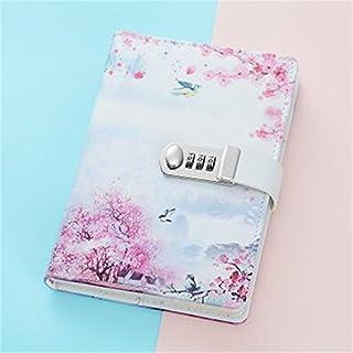 Cuzit Tagebuch Notizbuch mit Blumendruck, Zahlenschloss und Stifthalter, Motiv Pink Spring