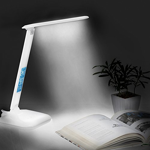 LED Desk Lamp, Dimmable Touch Daylight Desk Reading Light With Thermometer  Calendar Alarm Clock, 3 Modes U0026 5 Brightness Levels
