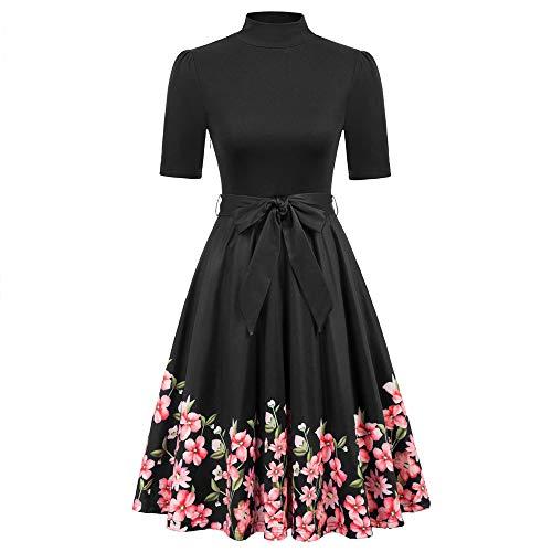 Damen Kleid 1/2 Ärmel 1950s Retro Rollkragen Floral A-Linie Swing Flared Cocktailkleid Sommer Casual XL Schwarz CU59-1 - 1/2-Ärmel-rollkragen
