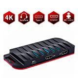 HDMI Game Capture Card, USB-C/Type-C 4K HDMI Game Video USB3.1 Capture Card/Box HD 1080P 60FPS with Mic Input and HDMI Passthrough - Compatible with Windows, macOS, OBS Streaming for PS3 PS4 Xbox